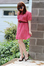 Salmon-70s-bow-neck-vintage-dress-blue-walmart-sunglasses