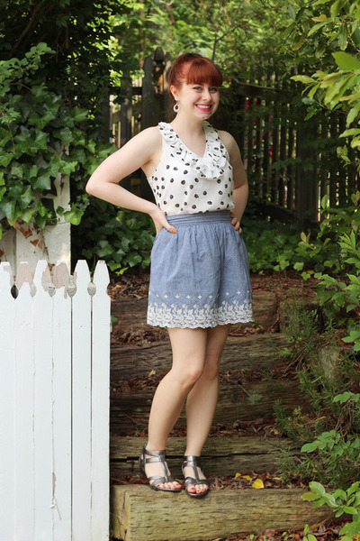 light blue chambray Forever 21 skirt - white modcloth top