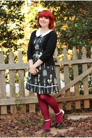 black modcloth dress - hot pink nylon Kmart tights