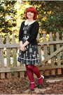 Black-modcloth-dress-hot-pink-nylon-kmart-tights