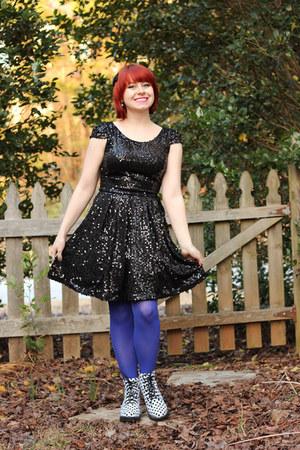 blue nylon Walmart tights - white polka dot Boohoo boots