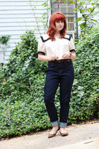 ivory Forever 21 top - navy Levis jeans - brown leopard print Xhileration flats