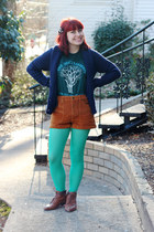 teal American Apparel t-shirt - aquamarine nylon Target tights