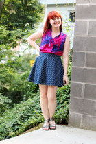 hot pink tie dye merona top - blue denim polka dot Cherokee skirt