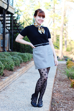 white vintage skirt - black polka dot Kmart tights