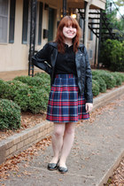 red plaid pleated skirt - black Ashley by twenty six international jacket