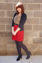 tan Allison Taylor Petites blouse - red high-waisted vintage skirt - black Daisy