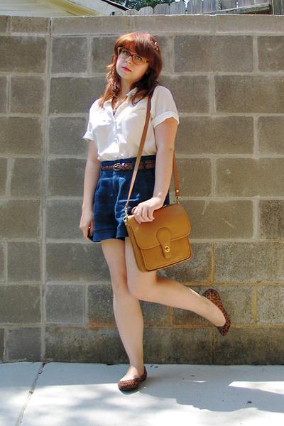 camel leather satchel vintage bag - navy Forever 21 shorts