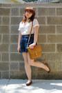 Camel-leather-satchel-vintage-bag-navy-forever-21-shorts