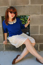 Brown-retro-h-m-sunglasses-ivory-forever-21-dress-blue-forever-21-sweater