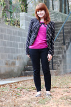 black polka dot Lauren Conrad blazer - hot pink lace bow elle sweater