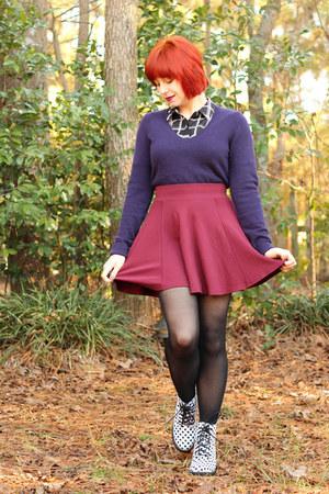 maroon skater H&M skirt - white polka dot Boohoo boots