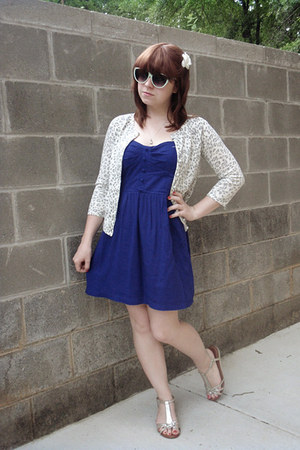 blue Forever 21 dress - aquamarine cat eye Forever 21 sunglasses - ivory Forever