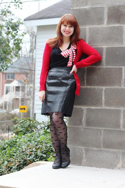black vintage skirt - black sheer bow print Forever 21 tights