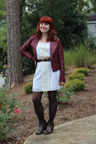 maroon leather Forever 21 jacket - brown ankle City Classified boots