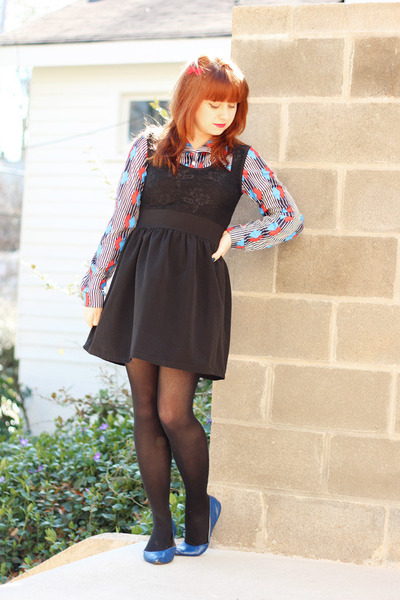 red vintage shirt - black lace top poof apparel dress