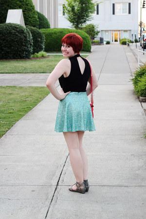 aquamarine sequined skater Forever 21 skirt - red scalloped PepaLoves bag