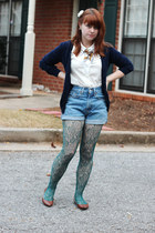 green lace Forever 21 tights - blue high-waisted Levis shorts