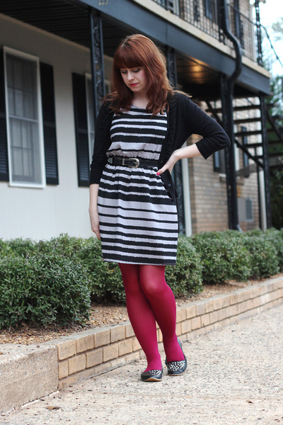 heather gray striped modcloth dress - hot pink nylon Kmart tights