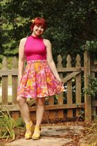 orange handmade skirt - yellow sandals Mossimo wedges - hot pink Boohoo top