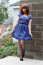 blue lace modcloth dress - black backseam nylons Macys tights