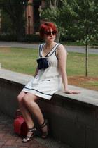 white sailor linen Forever 21 dress - red scalloped PepaLoves bag