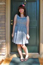 light blue Forever 21 dress - bronze sandals Self Esteem flats