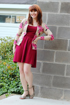 tan floral print Old Navy cardigan - maroon skater Forever 21 dress