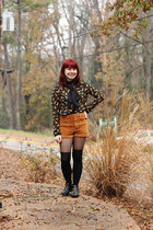 black Boohoo boots - black Boohoo tights - tawny corduroy Forever 21 shorts