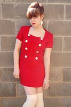 black Xhileration boots - red Santa Fe dress - eggshell American Apparel socks -