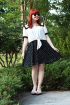 ivory sailor cropped Forever 21 top - black polka dot romwe dress