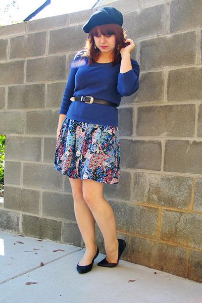 dbed19a4d176b light blue Forever 21 dress - black wool beret H M hat