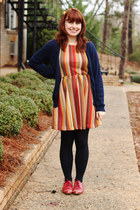 navy long Forever 21 cardigan - red oxford Forever 21 shoes