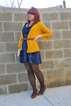 navy crushed velvet Shop Calico dress - mustard 3-4 sleeve Mossimo cardigan