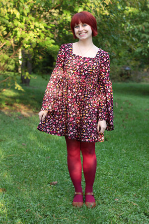 magenta Forever 21 dress - hot pink nylon Kmart tights - tawny heels Korks clogs