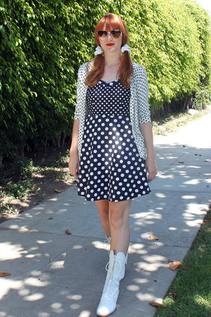 white vintage boots - polka dot modcloth dress - Target cardigan