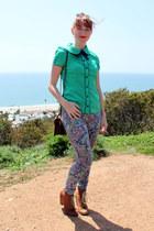 Steve Madden boots - paisley pants - modcloth blouse