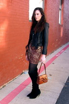 black Dolce Vita boots - burnt orange Torn by Ronny Kobo dress