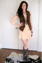 free people necklace - madewell dress - madewell vest - madewell boots - linea p
