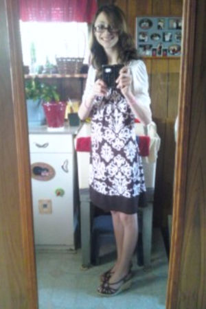 white Forever 21 cardigan - brown Wrapper dress - brown Target shoes