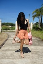black Bayo blouse - salmon kids of bayo blazer - light orange Twenty One shorts
