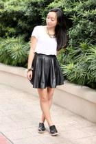 black leather skirt - black Primadonna boots - ivory Bayo shirt