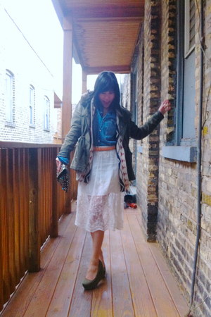 Topshop skirt - Levis jacket - denim shirt H&M shirt - Zara bag - H&M wedges