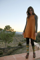orange Zara dress - crimson Zara sandals - olive green no brand socks