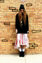 light pink free people skirt - black Cullen top - black Jeffrey Campbell wedges