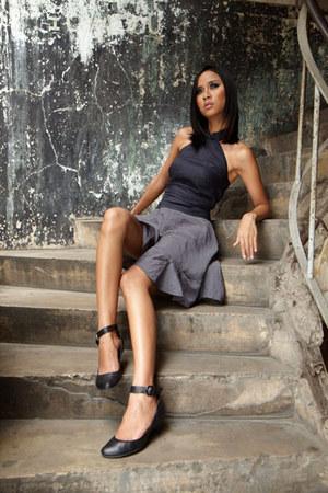 black JaneClarbour top - heather gray JaneClarbour skirt