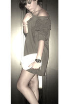 gray H&M dress - beige Love Moschino bag - black Zadig&Voltaire accessories
