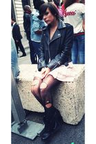 black ANDRE shoes - black tights - pink H&M dress - black GOLDY MAMA jacket - pi