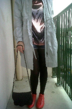 silver H&M coat - pink H&M blouse - blue Newlook shorts - black tights - pink H&