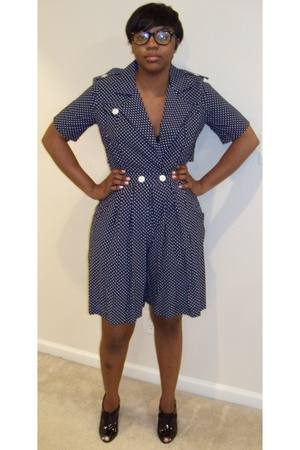 Navy Poka Dot Jumpsuit